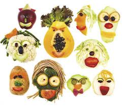veggies with wigs